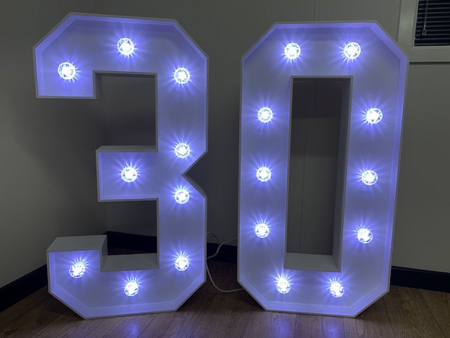 4ft White Light Up Numbers Hire