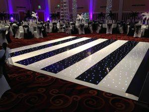Black & White Striped Starlight Dance Floor Hire